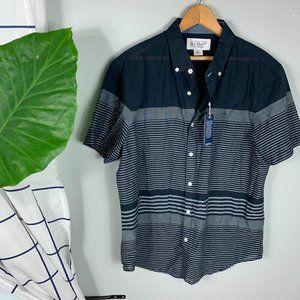 NWT Penguin Front Button Shirt Blue Striped Size L
